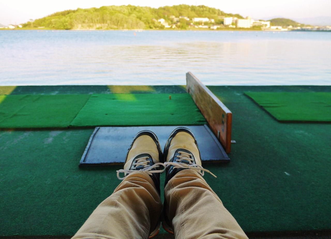ゴルフ練習休憩