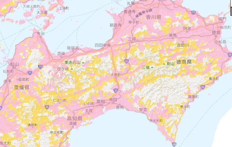 ドコモ電波状況 四国