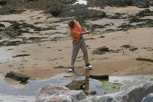 砂浜でバンカー練習